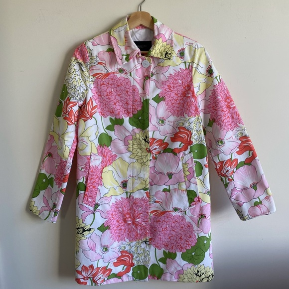 Authentic Burberry Coat Pink & White Floral